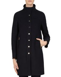 60aededc5fc1 Katherine Kelly Classic Stand Collar Single Breasted Wool Coat in ...