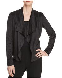 Donna Karan - New York Faux-suede Draped Open-front Jacket - Lyst
