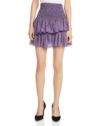 Maje - Joumi Smocked Printed Mini Skirt - Lyst