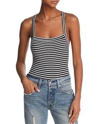 Olivaceous - Striped Crisscross Bodysuit - Lyst