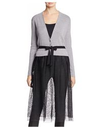 NIC+ZOE - Nic+zoe Tulle Time Mixed Media Duster Cardigan - Lyst