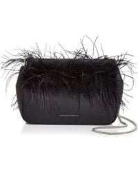 Loeffler Randall - Maisie Feather-trim Leather Pouch - Lyst 3a81bbd962e48