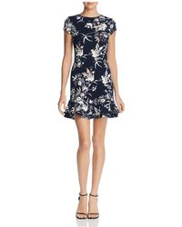 Aqua - Ruffle-hem Floral Print Dress - Lyst