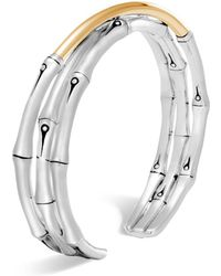John Hardy - Brushed 18k Yellow Gold And Sterling Silver Bamboo Small Flex Cuff - Lyst