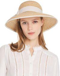 Aqua Raffia Straw Sun Hat With Bow Trim