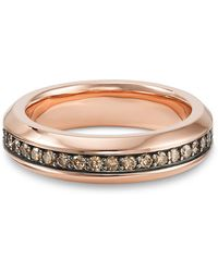 David Yurman - Streamline Band Ring In 18k Rose Gold With Cognac Diamonds - Lyst