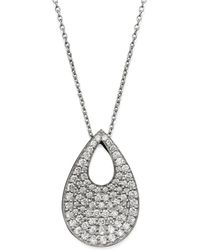 "Roberto Coin - 18k White Gold Diamond Teardrop Pendant Necklace, 18"" - Lyst"