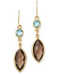 Bloomingdale's - Smoky Quartz & Blue Topaz Drop Earrings In 14k Yellow Gold - Lyst