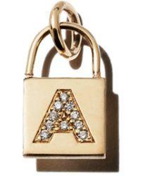 Zoe Chicco 14k Yellow Gold Initial Padlock Charm With Diamonds - Metallic