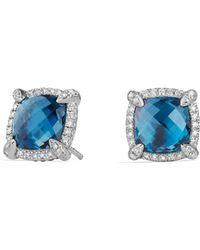 David Yurman Châtelaine Pavé Bezel Stud Earrings With Hampton Blue Topaz And Diamonds Lyst