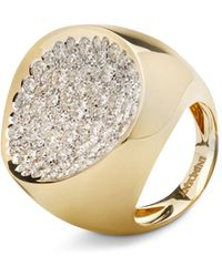 Antonini - 18k Yellow Gold Matera Extra Large Pavé Silvermist Diamond Ring - Lyst