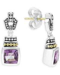 Lagos - 18k Gold And Sterling Silver Caviar Color Amethyst Drop Earrings - Lyst