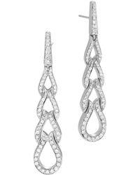 John Hardy - Classic Chain Sterling Silver Diamond Pavé Drop Earrings - Lyst