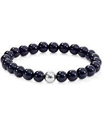Aqua - Sterling Silver & Stone Beaded Stretch Bracelet - Lyst