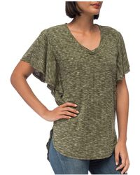 B Collection By Bobeau - Mariee Flutter-sleeve Marled Tee - Lyst