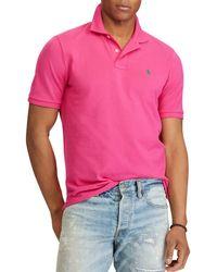 06bb290a Lyst - Polo Ralph Lauren Custom-Fit Mesh Polo Shirt in Orange for Men