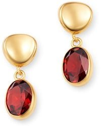 Bloomingdale's - Garnet Oval Drop Earrings In 14k Yellow Gold - Lyst