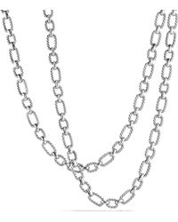 David Yurman - Chain Cushion Link Necklace With Blue Sapphire In Sterling Silver - Lyst