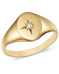 Zoe Chicco - 14k Yellow Gold Diamond Star Signet Ring - Lyst