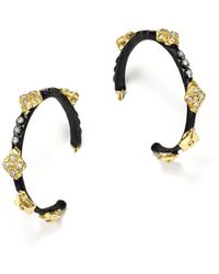 Armenta - 18k Yellow Gold And Blackened Sterling Silver Old World Champagne Diamond Earrings - Lyst