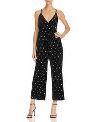 Aqua - Star-embroidered Velvet Jumpsuit - Lyst