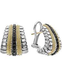 Lagos - 18k Yellow Gold & Sterling Silver Diamond Lux Black Diamond Omega Clip Earrings - Lyst