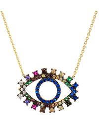 Aqua - Multicolor Eye Pendant Necklace In Gold Tone - Plated Sterling Silver - Lyst