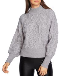1.STATE - Puff Sleeve Cable Knit Sweater - Lyst
