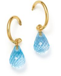 Bloomingdale's Blue Topaz Briolette Hoop Drop Earrings In 14k Yellow Gold - Metallic