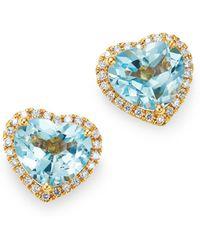 Kiki McDonough - 18k Yellow Gold Grace Blue Topaz & Diamond Heart Earrings - Lyst