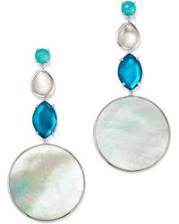 Ippolita - Sterling Silver Wonderland Mother-of-pearl & Clear Quartz Doublet Long Drop Earrings In Bermuda - Lyst