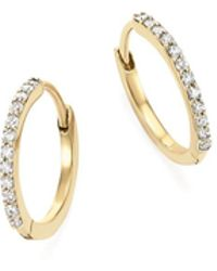 Mateo | 14k Yellow Gold Diamond Huggie Hoop Earrings | Lyst