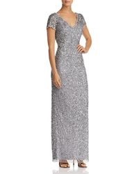 Adrianna Papell - Short-sleeve Beaded Gown - Lyst
