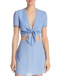 Olivaceous - Polka Dot Tie-front Cropped Top - Lyst