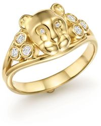 Temple St. Clair - 18k Yellow Gold Small Lion Cub Classic Diamond Ring - Lyst