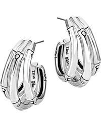 John Hardy - Bamboo Silver Small J Hoop Earrings - Lyst