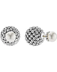 Lagos - Sterling Silver Signature Caviar Cultured Freshwater Pearl Front-back Earrings - Lyst