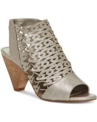Vince Camuto - Women's Emberla Perforated Leather Cone Heel Sandals - Lyst