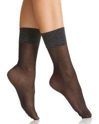 Hue - Metallic Band Sheer Anklet Socks - Lyst