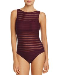 Ralph Lauren - Lauren Ottoman Boat Neck One Piece Swimsuit - Lyst