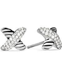 David Yurman - X Earrings With Diamonds - Lyst