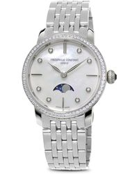 Frederique Constant - Slimline Moonphase Stainless Steel Watch With Mother Of Pearl Dial - Lyst