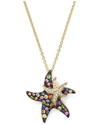 """Bloomingdale's - Multi Sapphire And Diamond Starfish Pendant Necklace In 14k Yellow Gold, 17"""" - Lyst"""