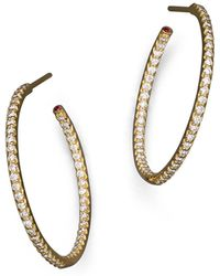 Roberto Coin - 18k Yellow Gold Micropave Inside-out Diamond Hoop Earrings - Lyst