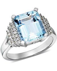 Bloomingdale's - Aquamarine & Diamond Statement Ring In 14k White Gold - Lyst