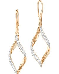 John Hardy - 18k Yellow Gold Classic Chain Pavé Diamond Twisted Wave Drop Earrings - Lyst