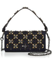 Tory Burch - Cleo Embellished Fold-over Satin Clutch - Lyst