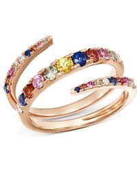 Bloomingdale's - Multicolor Sapphire & Diamond Spiral Ring In 14k Rose Gold - Lyst