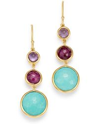 Ippolita - Turquoise & Clear Quartz Over African Ruby Doublet Three-stone Drop Earrings - Lyst