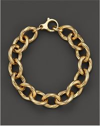 Roberto Coin - 18k Yellow Gold Textured Oval Link Bracelet - Lyst